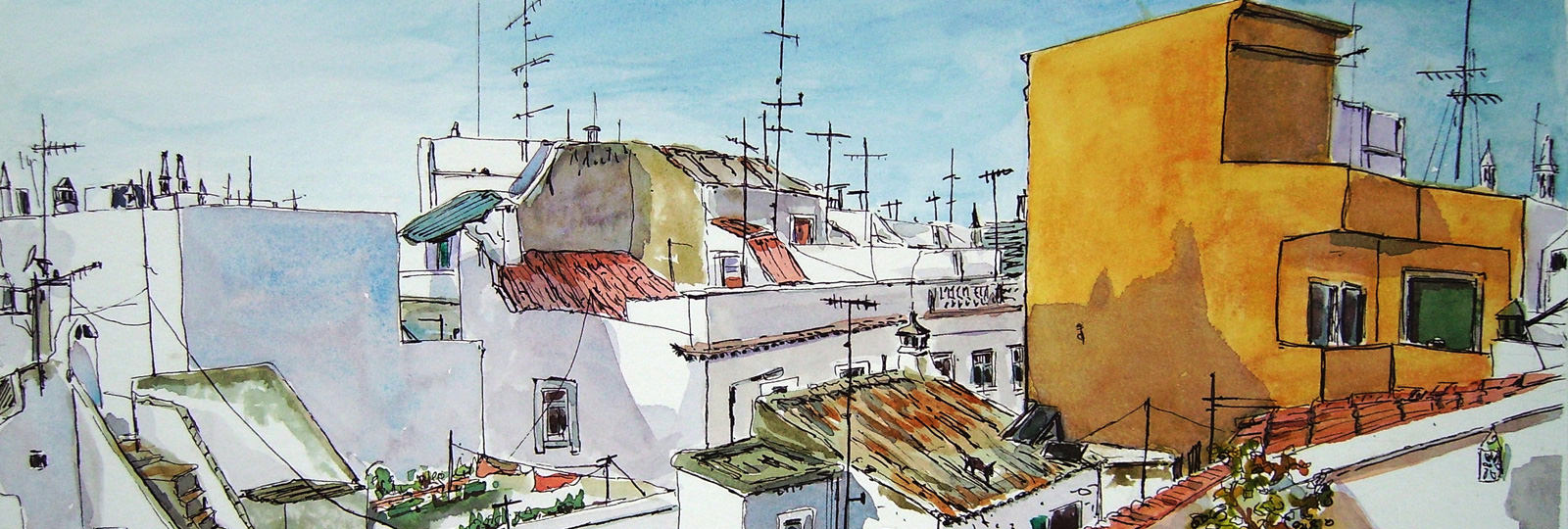 Painting of roof tops in Olhao, Portugal