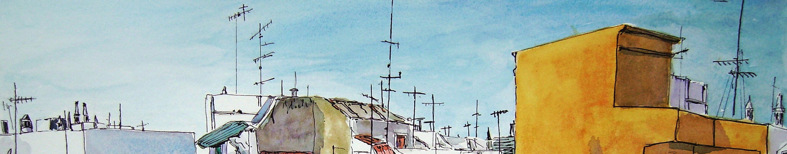 painting of Olhao roof tops