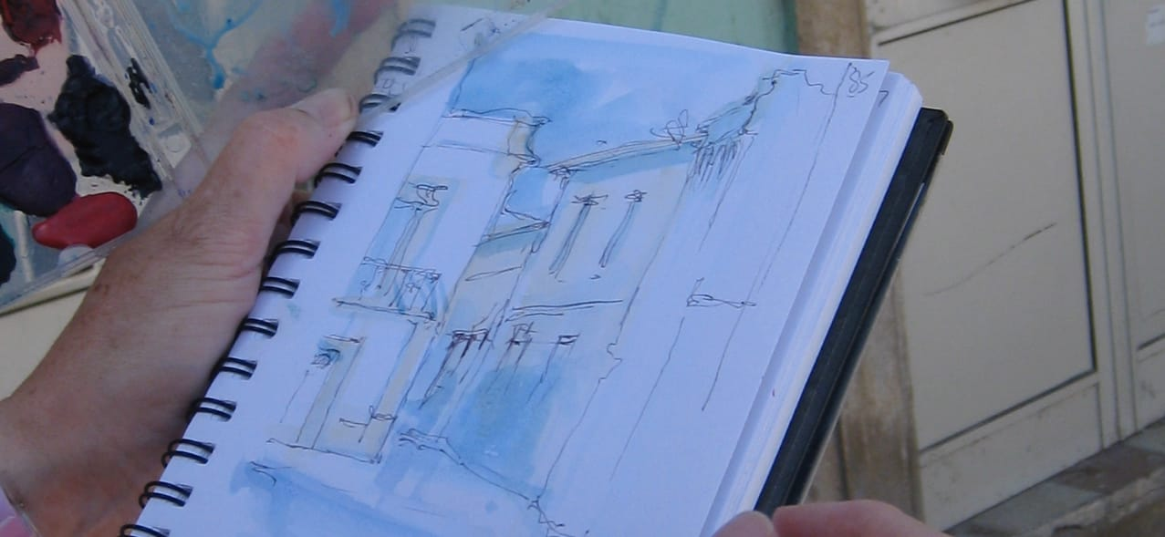 Sketching in the streets of Olhao